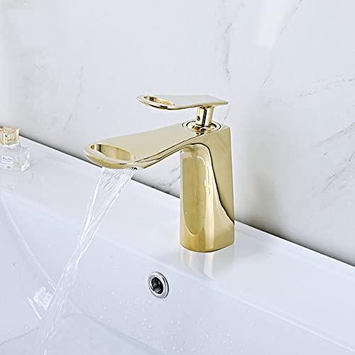 Latón grifo de lavabo frío y caliente lavabo de baño hogar grifo de un solo orificio fregadero lavabo grifo dorado dorado