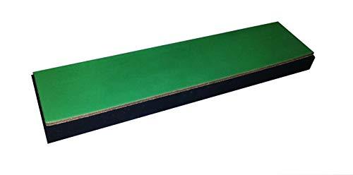 scherenkauf XXL Lederabziehriemen, Abziehleder 30cm x 7cm (Leder Natur, XXL mit grünem Chromoxid behandelt, Kautschuk-Unterlage)
