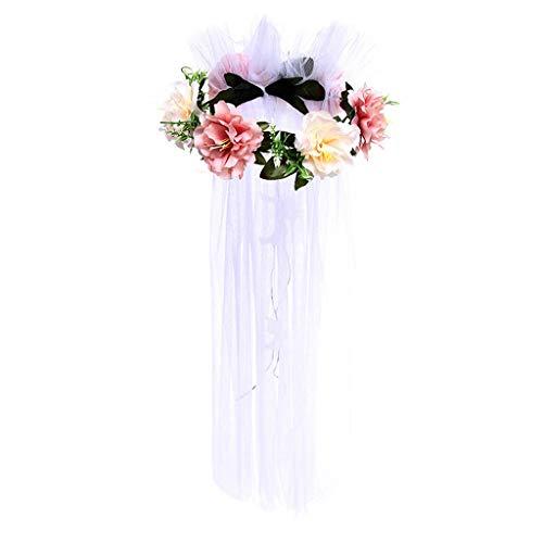Meen bruidssluier, vakantie simulatie bloem haarsieraad prinses roos veil Halloween party krans hoofdtooi Snow bud + champagne + white yarn