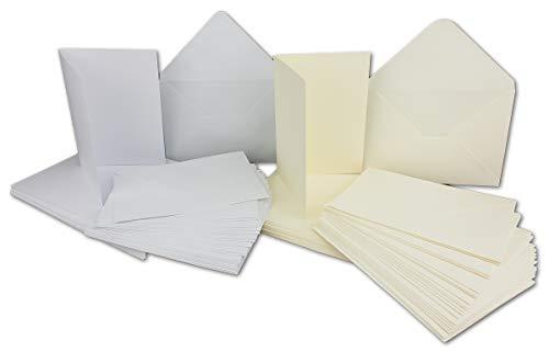 20 Falt-Karten Sets - DIN A6-240 g/m² - Weiss & Creme - mit Brief-Umschlägen DIN C6-120 g/m² Nassklebung - 40 Teile - Glüxx-Agent