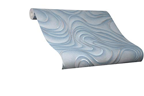 Tapete Blau Welle - Geschwungen, Linien, Ovale - Colani Evolution - für Wohnzimmer, Schlafzimmer oder Küche - Made in Germany - 10,05m X 0,70m - Premium Vliestapete - 56321