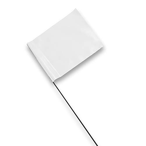 Marking Flags - 4 x 5-Inch Flag on 15-Inch Steel Wire - White, 100 Pack -...