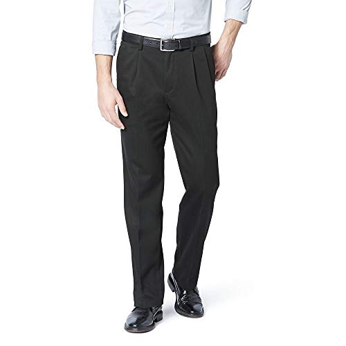 Dockers Men's Classic Fit Easy Khaki Pants - Pleated D3, Black (Stretch), 34 32