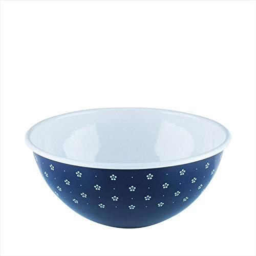 Riess, 0465-073, Obst- und Salatschüssel 26 4,00 L, COUNTRY - DIRNDL, Durchmesser 26 cm, Höhe 12,2 cm, Inhalt 4,00 Liter, Emaille, blümchenblau, blau/weiß
