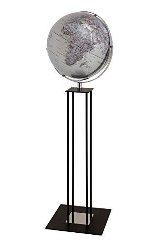HOWE-Deko Moderner Standglobus / Weltkugel mit Reliefkarte, Silber, aus Metall, verchromt, Kunststoff und Holz, Ø42,5 x H135 cm