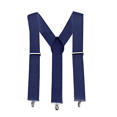 Trimming Shop Unisexe Élastique Bretelles Forme Y Uni Bretelles Réglables avec Forte Métal à Clipser pour Pantalons, Jean, Pantalon, 50mm - Bleu marin