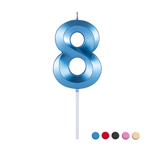 Birthday Candles Extended Big Number Candle Multicolor 3D Design Cake Topper Decoration for Any Celebration(8 Candle Blue)