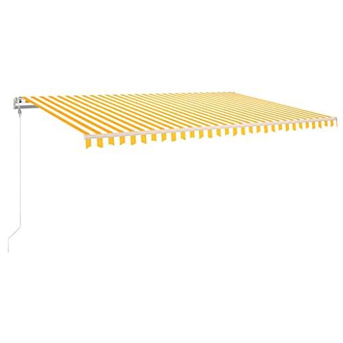 vidaXL Toldo Automático LED Sensor de Viento Plegable Manivela Ventana Sombrilla Jardín...