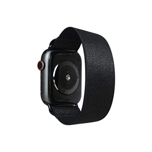 Tefeca Black Satin Elastic Compatible/Replacement Band for Apple Watch 38mm/40mm (Black Adapters, XS fits Wrist Size : 5.5-6.0 inch)