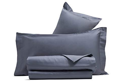 Completo letto lenzuola in raso di puro cotone Made in Italy (MATRIMONIALE, Grigio)