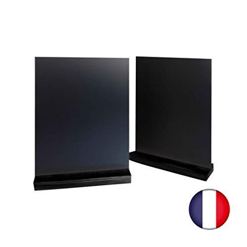 Porte menu de table en bois couleur noir dimensions 21 x 6,5 x 2,4 cm avec ardoise A4 - Lot de 2