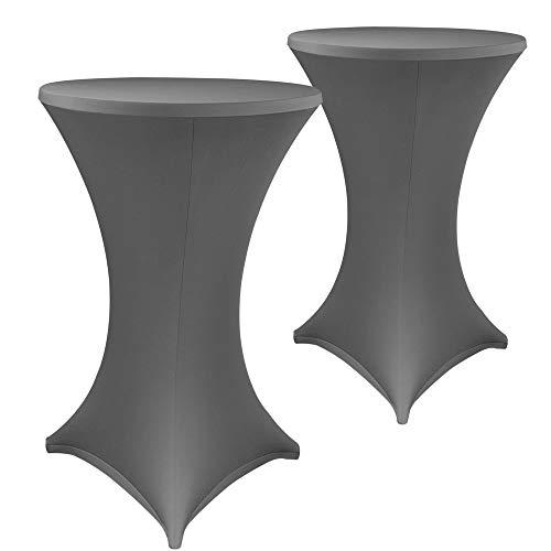 DILUMA Stehtischhussen Stretch Elastique 2er Set - elastische Premium Stretchhusse für alle gängigen Bistrotische und Stehtische, Größe:Ø 70-75 cm, Farbe:Anthrazit