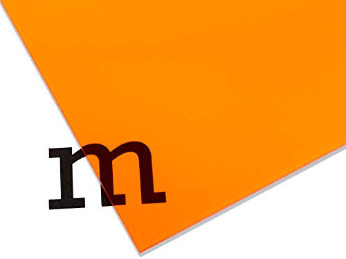 PLEXIGLAS® GS farbig, vielfältig nutzbares und bruchfestes Marken Acrylglas für Lichtobjekte etc, 3 mm dicke PLEXIGLAS® GS Platte in 25 x 50 cm, orange transparent (2C04)
