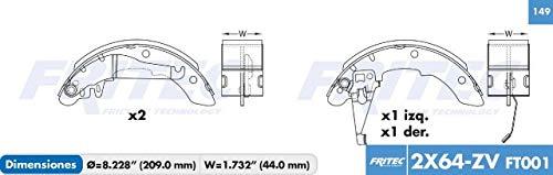 Fritec Balatas de Freno Tambor Traseras Vulcanizada Specific Ceramica Para: Chevrolet Chevy Pickup Base…