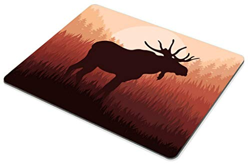 Smooflly Moose Mouse Pad,Antlers in Wild Alaska Forest Rusty Abstract Landscape Design Deer Theme Mouse Pad 9.5 X 7.9 inches Photo #3