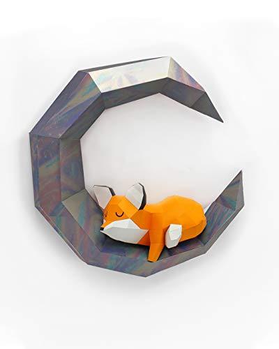 Oh Glam Home Kit DIY Schlafender Fuchs auf dem Mond Papercraft Kit Wandtrophäe Pappe 3D Origami Skulptur 3D Puzzle 3D Kinderdeko VORGESCHNITTEN (Silbermond)