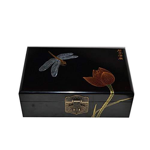 Laogg Caja Joyero Chino,Caja de joyería Caja de Almacenamiento de aretes con Anillo de Collar de Cerradura Muebles y Regalos orientales