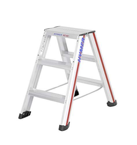 Hymer 602406 Stufenstehleiter 2x3 Stufen (beidseitig begehbar, Spreizsicherung, große Leiterschuhe, Standhöhe ca. 0,21 m)