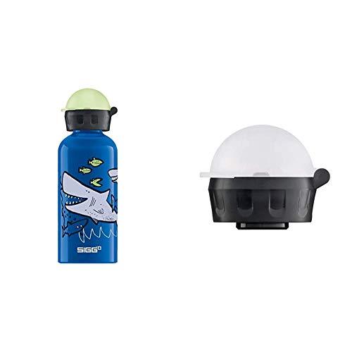 Sigg Kinder Trinkflasche SIGG Sharkies, Kinder Trinkflasche, 0.4 L, Auslaufsicher, BPA Frei, Aluminium, Blau & Kinder Trinkverschluss KBT Complete Carded Trinkflasche, Transparent, one Size