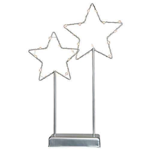Nipach Deko-Leuchte Sterne – Lampe zur Dekoration auf Tisch Kommode – graues Metallgestell...
