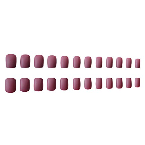 CLOAAE 24 noble purple matte manicure accessories medium square frosted acrylic nail stickers full cover for ladies party nails