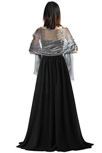 YAOMEI Mujer Bufanda Chales Estolas Satén, Mujer Verano Mantón Estolas Fulares Bufanda Pañuelo bodas nupcial bridemaids Ropa de noche partido (70 * 28 pulgadas (170cm * 70cm), Gris)