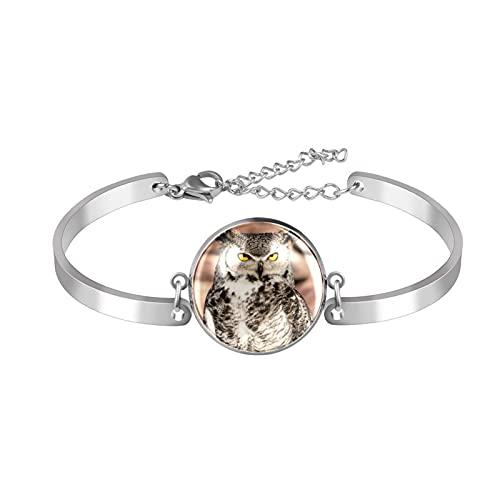Pulsera, brazalete de acero inoxidable brazalete de regalo de joyería puño pulido estilo de caja de regalo de moda Búho de Sudáfrica de pie en una barra de madera para hombres mujeres