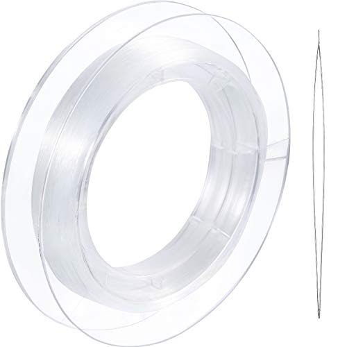 200 m Clear Nylon Invisible Thread String for Hanging Christmas Ornaments, Bracelet Making, Sew Hobby, Clear Beading Thread with Bead Needle (0.25mm)