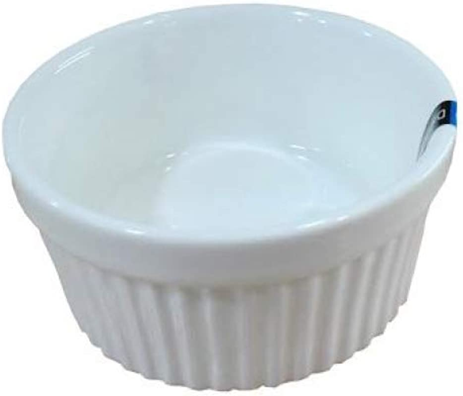 1 Dz White Glazed Fluted Porcelain Ramekins 8 Oz 4 D X 2 H