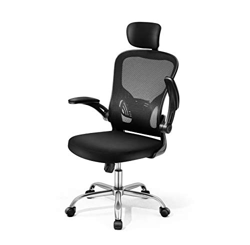 Magic Life Schreibtischstuhl Ergonomischer Bürostuhl mit Verstellbarer Kopfstütze Aufklappbare Armlehne und hautfreundliche Maschenverriegelung 360° Rotations Computerstuhl Hoher Rücken