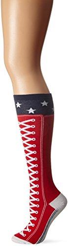 K. Bell Women's Original Series Novelty Knee High Socks, Sneaker (Red), Shoe Size: 4-10