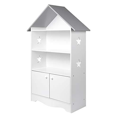 WOLTU Librería Infantil para Niños con 3 Estanterías Abiertos, Librero Infantil para Habitación Organizador Multiusos, Estante de Libreria para Dormitorio Blanca KR006