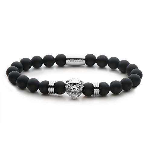 Obelizk Perlen-Armband für Männer | Löwen-Armband aus Natursteinperlen | Lion-Armband | Geschenk Schmuck-Box + Luxury Herren Accessoires Guide | Löwenkopf in Silber