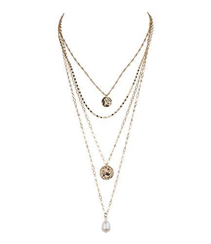 TOSH Goldglänzende Halskette im Layering Look mit schicken Anhängern (362-899)