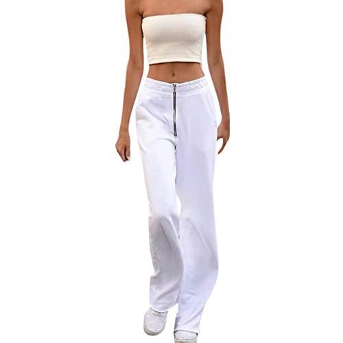 Zarupeng dames joggingbroek met ritssluiting hip-hop sweatpants elegante stoffen broek straight-been-broek elastische taille vrijetijdsbroek