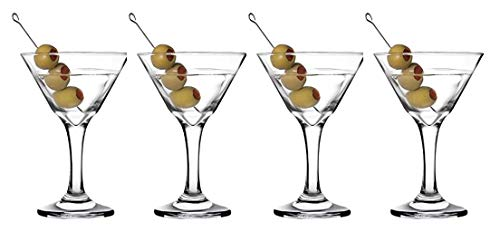 Epure Venezia Collection 4 Piece Stemmed Martini Glass Set - For Drinking Martinis, Manhattans, Vodka, Gin, and Cocktails (Martini (9 oz) - 4 pc.)