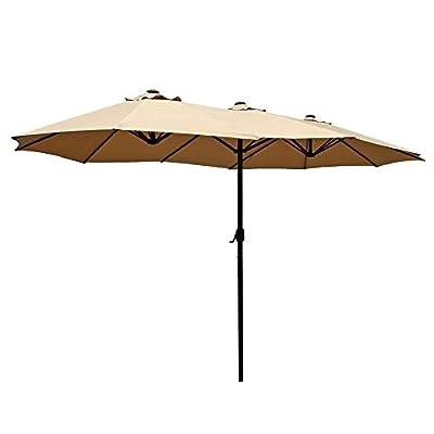 Patio Kingdom 15 ft Outdoor Umbrella Double-Sided Aluminum Table Patio Umbrella with Crank, Beige