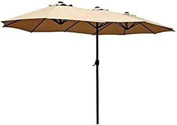 Patio Kingdom 15 ft Outdoor Double-Sided Aluminum Table Patio Umbrella