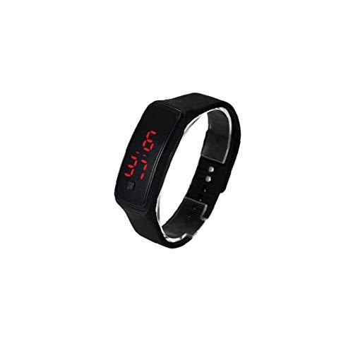 Rrunzfon El Reloj Unisex del Cuarzo de la Manera Digital Deportes Reloj de Pulsera con Silicona Brazalete - Accesorios de Vestir Negro del Reloj