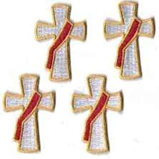 Deacon Cross Embroidered Patches - Package of 4
