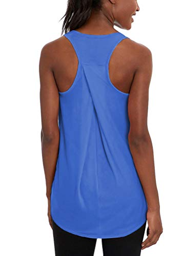 Mippo Workout Tank Tops for Women Yoga Running Shirts High Neck Athletic Racerback Tank Tops Sleeveless Fitness Active Sports Exercise Tops Womens Workout Tops Muscle Tanks for Women Blue XL
