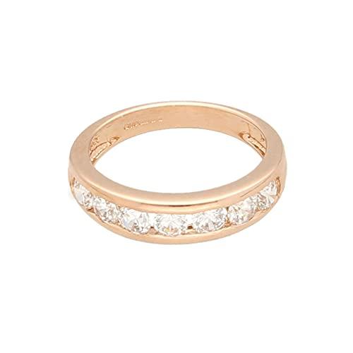 Anillo de eternidad para mujer de oro rosa de 14 quilates con diamantes de imitación y canal, talla H 1/2, 4 mm de ancho, anillo de lujo para mujer