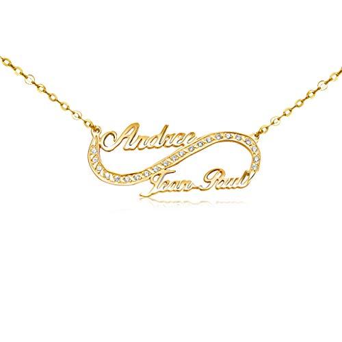 Gold Infinity Unikat Namensanhänger Goldkette - Echtes Massivgold 14K,18K ,22K,Unendlich Zirkonia Namenskette , Personalisierte Kette mit Ihren eigenen 2 Namen #2315 (Gold 333 (8K))