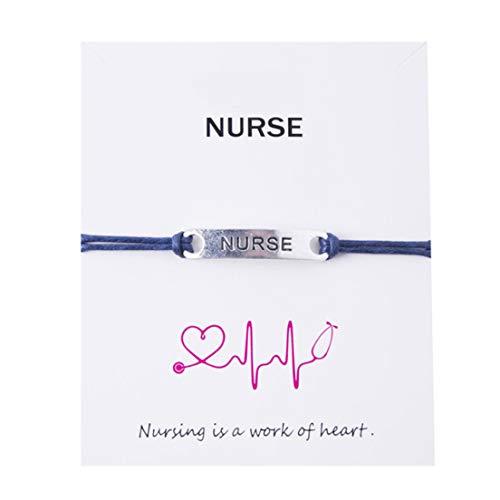 EMFGJ Pulsera Enfermera Enfermera Pulsera Ajustable Joyería Regalo para Enfermera Paramédica Médico Asistente de Cuidado de la Salud, Azul Marino