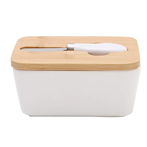 Ceramic Butter Dish with Bamboo Lid, Butter Keeper Container with Butter Knife Food Storage Candy Box, Butter Containe with Silicone Ring Ceramic Butter Jar Sealed Storage Jar