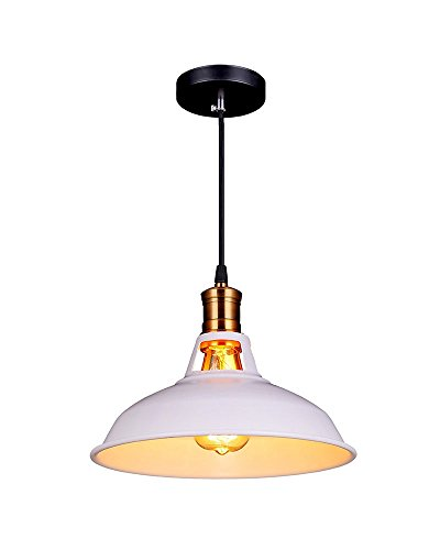 splink Vintage Pendelleuchte Hängelampe Industrie Deckenlampe/Deckenleuchte, E 27 Fassung Fabrik Messing Lampenschirm,Wieß