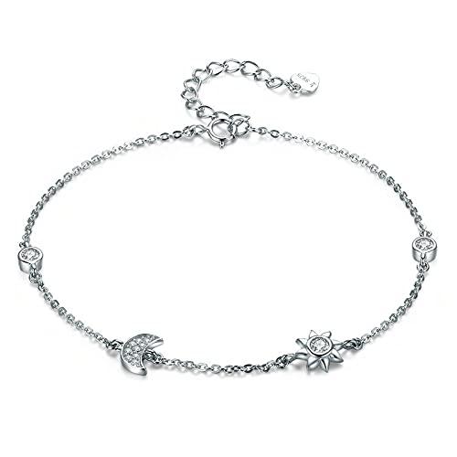 NDASNDIASND Genuino 100% 925 Broche de Langosta de Plata Xingyue Pulsera Transparente y Brazalete joyería de Plata para Mujer