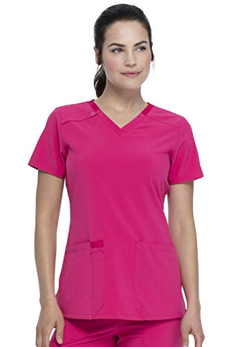 Dickies EDS Essentials V-Neck Top, DK615, 4XL, Hot Pink
