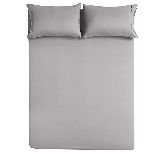 Best Bedding Store Twin Sleeper Sofa Bed Sheet Set 4-PCs - Silver Grey Solid 100% Egyptian Cotton 600 Thread Count Fit Up to 5''-6'' inches Deep