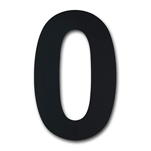 Número casa exterior acero inoxidable, altura 125mm, chapado en negro (Número 0 Cero)